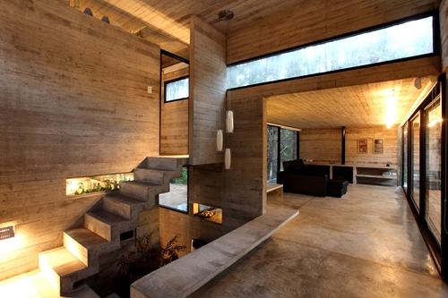 Architecture - Cement, Wood, Living Room, Stairs