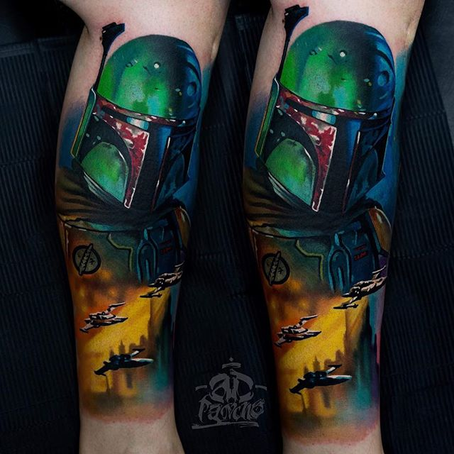 Tattoo - Alex Pancho, Kwadron Tattoo Gallery, Green, Yellow, Boba Fett, Star Wars.jpg