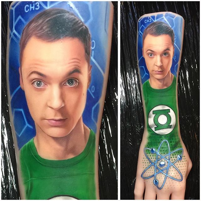 Tattoo - David Corden, Semper Tattoo, Big Bang Theory, Sheldon Lee Cooper, Green, Blue.jpg