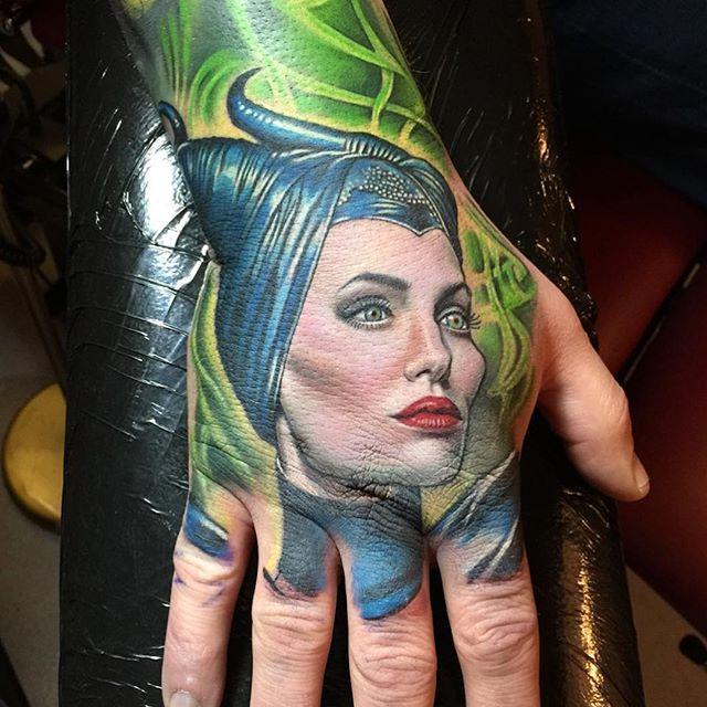 Tattoo - David Corden, Semper Tattoo, Maleficent, Angelina Jolie, Green, Blue.jpg